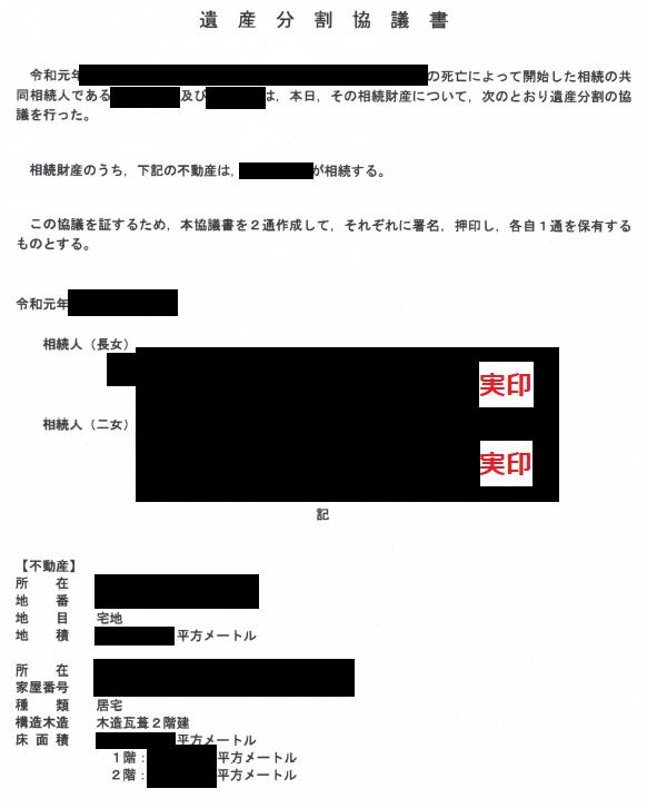 遺産分割協議書のサンプル