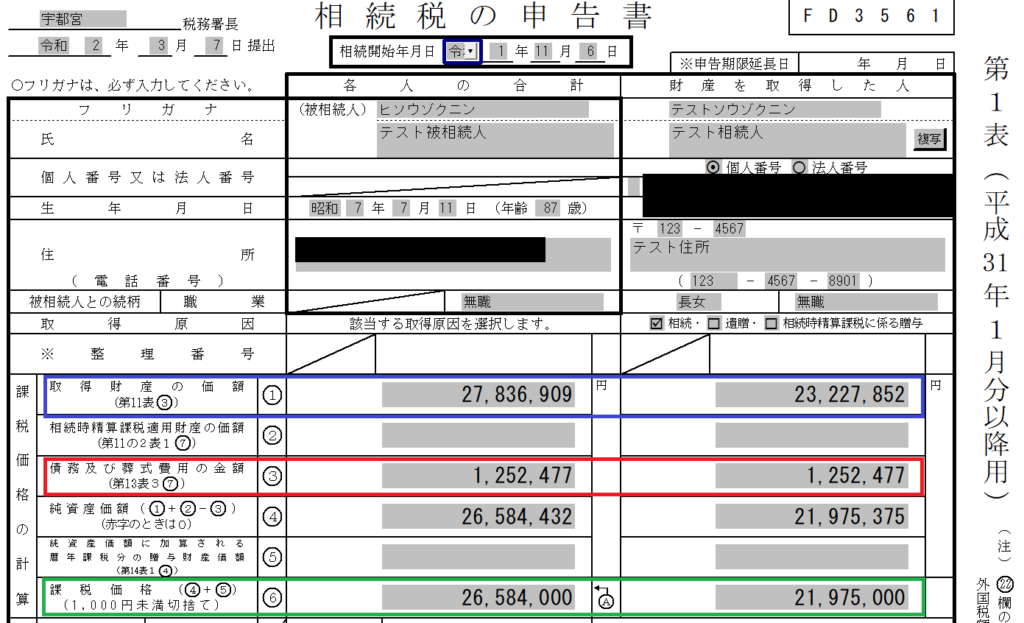 相続税申告 第1表:相続税の申告書