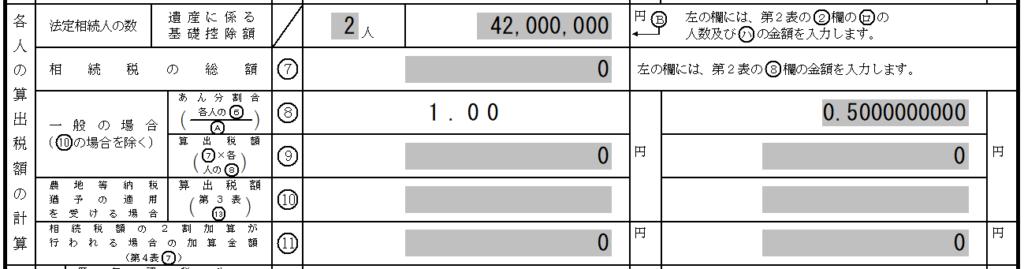 相続税申告 第1表:相続税の申告書の「各人の算出税額の計算」項目