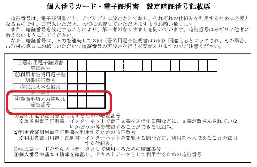 マイナンバーカードの「券面事項入力補助用」は暗証番号記載票のどの部分?