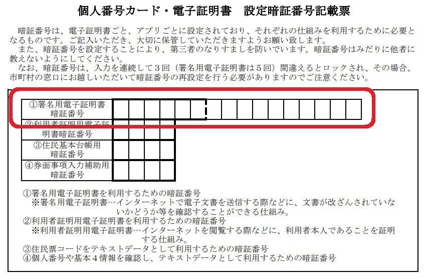 マイナンバーカードの「署名用電子証明書」は暗証番号記載票のどの部分?