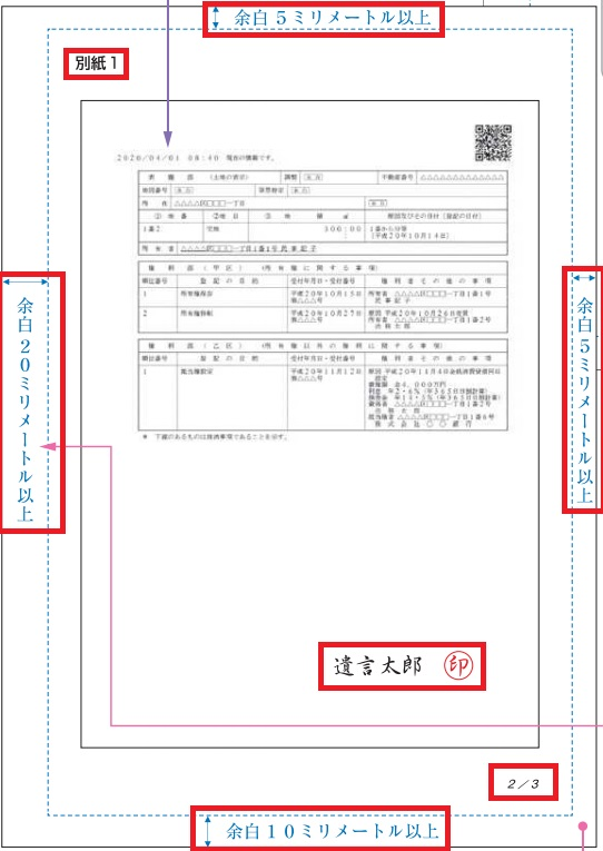 自筆証書遺言保管制度の財産目録(不動産)と複数ページの署名捺印のルール