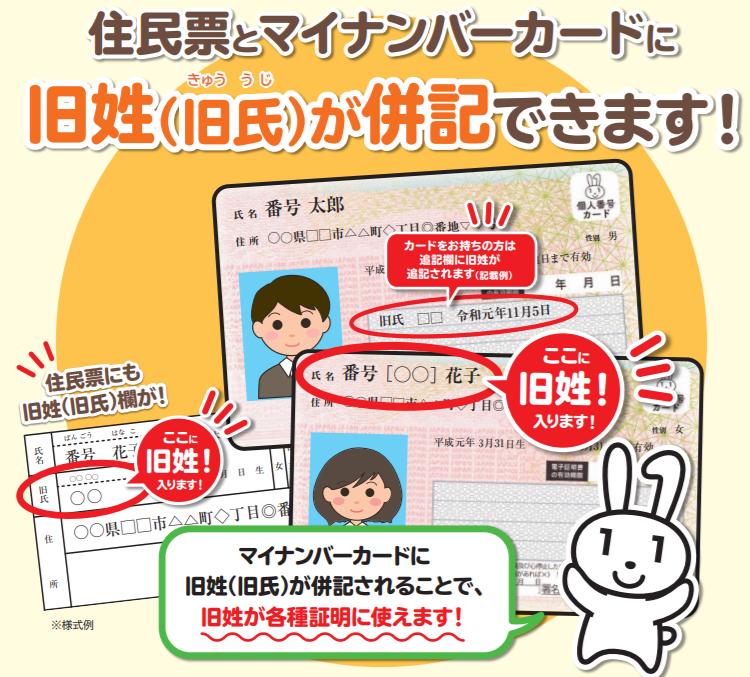 住民票およびマイナンバーカードの「旧姓(旧氏)」の併記が可能に!