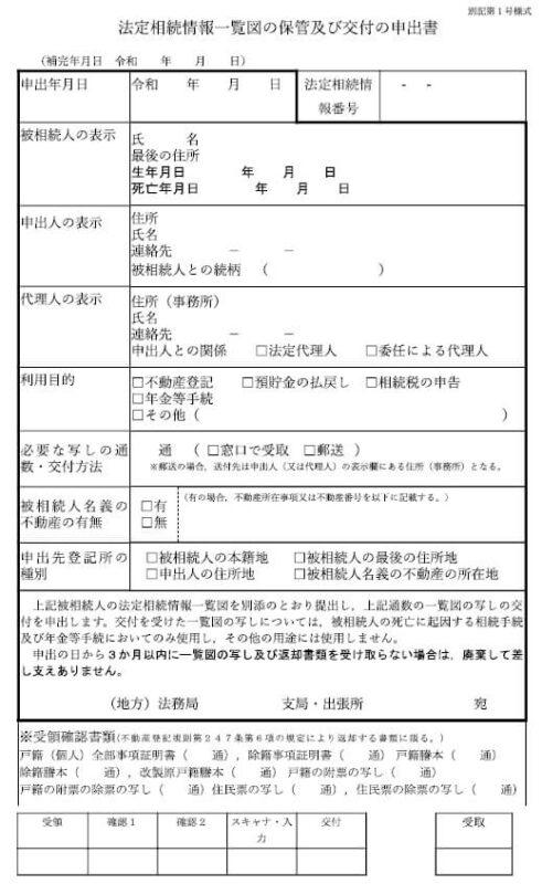 法定相続情報一覧図の保管および交付の申出書(2021年4月1日改定版)