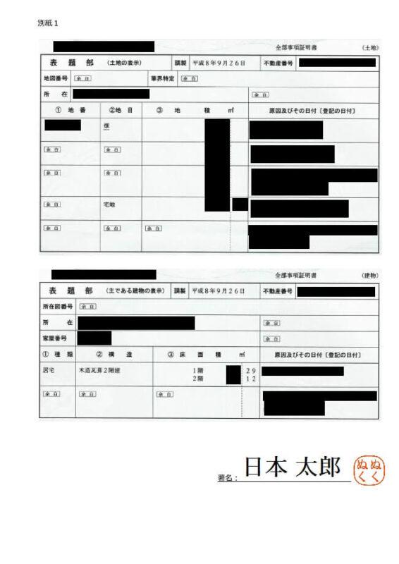 財産目録(不動産)別紙