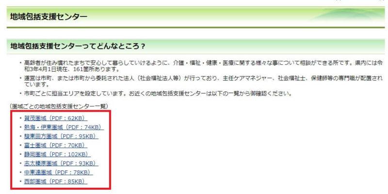 静岡県の地域包括支援センター一覧