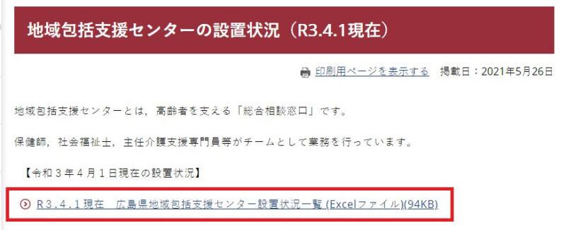 広島県の地域包括支援センター一覧