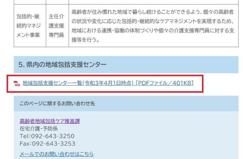 福岡県の地域包括支援センター一覧