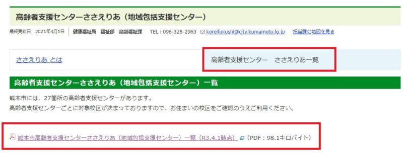 熊本県の地域包括支援センター一覧