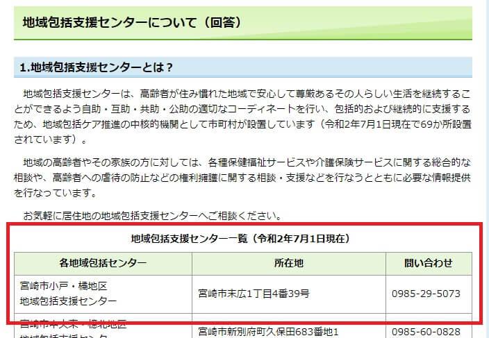 宮崎県の地域包括支援センター一覧