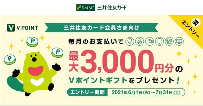 毎月の公共料金・サブスクを三井住友カード支払で最大3000Vポイントギフト!【R3.7/31迄】